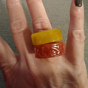 Jewelry - Pair of carved stone rings
